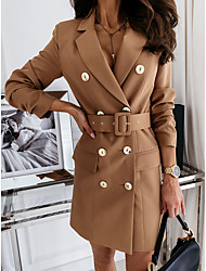 cheap -Women's Blazer Solid Colored with Belt Chic  Modern Long Sleeve Coat Fall Spring Business Double Breasted Long Jacket Khaki Notch lapel collar Rabbit Fur Plus Size