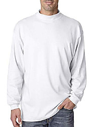 cheap -mens mockneck knit white long-sleeve shirt 100% combed cotton (medium)