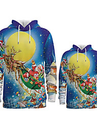 cheap -Family Look Active Santa Claus Galaxy Graphic optical illusion Print Long Sleeve Regular Hoodie & Sweatshirt Blue
