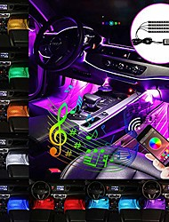 cheap -car led strip lights 4pcs 48led multicolor music car interior atmosphere lights for car tv home under dash lighting kit with sound active function and app control dc12v