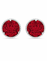 cheap -14k white gold roped halo round-cut created ruby stud earrings (8mm)