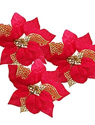 cheap -pack of 12 glitter artificial wedding christmas flowers glitter poinsettia christmas tree ornaments (red)