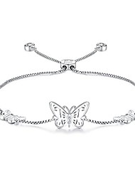 cheap -silver butterfly charms expandable bolo bracelet with sparkling cubic zirconia adjustable white gold plated women girl jewelry gift