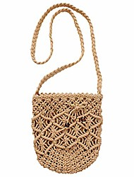 cheap -women handwoven crossbody bag summer beach woven handmade clutch purse weaving casual shoulder handbag(light brown)