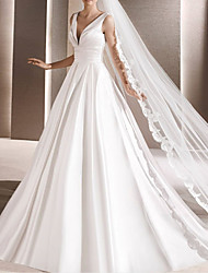 cheap -Ball Gown Wedding Dresses V Neck Chapel Train Satin Sleeveless Formal with 2021