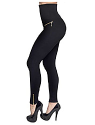 cheap -women's hollywood leggings high waist stretch skinny tights pants 3 pack zipper l