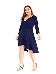 cheap -Women's A-Line Dress Short Mini Dress - Long Sleeve Solid Color Ruched Patchwork Spring V Neck Plus Size Casual Slim 2020 Black Red Navy Blue XL XXL 3XL 4XL 5XL