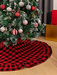cheap -christmas tree skirt cotton buffalo plaid red and black 48 inch ruffle for xmas holiday tree decorations