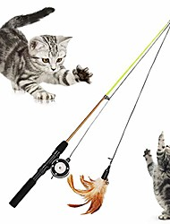 cheap -feather bell retractable fishing rod pole playing teaser toy cats kitten toys pet supplies feather style