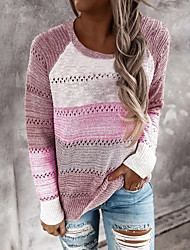 cheap -Women's Hollow Out Color Block Pullover Long Sleeve Sweater Cardigans Crew Neck Fall Winter Blushing Pink Fuchsia Green