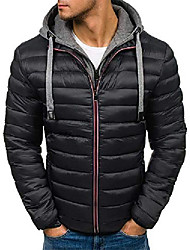 cheap -men's puffer jacket water-resistant insulated down alternative outerwear coats (black,small)