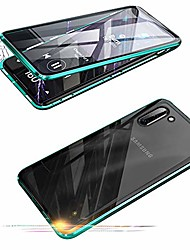 cheap -compatible with samsung galaxy note 10 (6.3 inch) case,  360 degree front and back transparent tempered glass cover, strong magnetic adsorption technology metal bumper for note 10 (green)