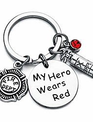 cheap -firefighter keychain my hero wears red keychain for firefighter retirement gift firefighter memorial gift