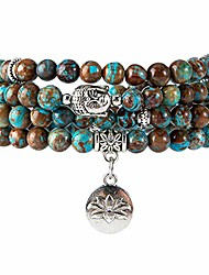 cheap -108 mala beads bracelet - genuine gemstone mala prayer beads lotus charm meditation necklace (agate)