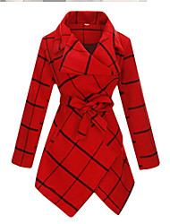 cheap -Women's Houndstooth Lace up Active Fall & Winter Trench Coat Long Going out Long Sleeve Wool Blend Coat Tops White