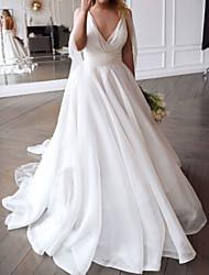 cheap -A-Line Wedding Dresses V Neck Court Train Chiffon Sleeveless Beach with Pleats 2021