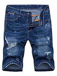 cheap -men's denim shorts jeans pants 5 pocket casual ripped distressed slim fit for men (8198, 36)