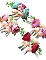 cheap -1pcs Kids Girls' Sweet Floral Floral Style Hair Accessories Purple / Blushing Pink / Green