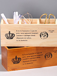 cheap -Antique Wooden Box Rectangular Solid Wood Three Lattice Pen Holder Desktop Storage Box Wooden Remote Control Storage