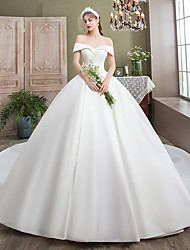 cheap -Ball Gown Wedding Dresses Off Shoulder Watteau Train Satin Cap Sleeve Formal Elegant with Pleats 2020