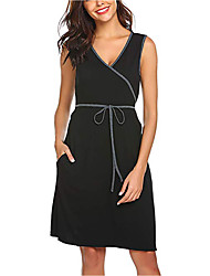 cheap -Women's Wrap Dress Knee Length Dress - Short Sleeve Solid Color Patchwork Spring Summer Casual 2020 Black Gray S M L XL XXL