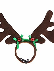 cheap -christmas pet headband deer horn hat dog cat cosplay party product (green bowknot)