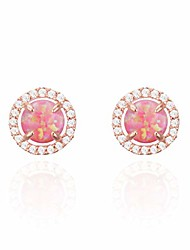 cheap -14k gold plated 925 sterling silver post opal stud earrings, white/green/pink opal earrings (rose gold)