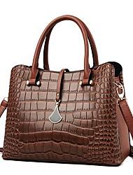cheap -Women's Bags PU Leather Satchel Top Handle Bag Buttons Zipper Handbags Daily Outdoor Black Red Yellow Green