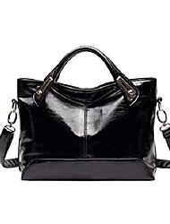 cheap -women handbags ladies hobo shoulder bags tote oil wax leather purse cross body bag(black))