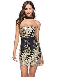 cheap -Women's Sheath Dress Short Mini Dress Black Sleeveless Print Zipper Patchwork Print Summer Strapless Hot Sexy 2021 S M L XL XXL