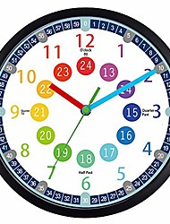 cheap -wall clock for kids,10 inch telling time teaching kids clock, kids room, playroom décor analog silent wall clock,perfect educational tool for homeschool, classroom (10 inch)