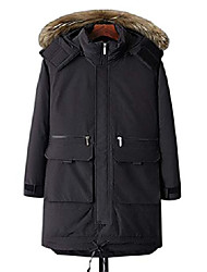 cheap -men's outdoor casual fur hood ski snow parka jacket down alternative coat (x-small, black)