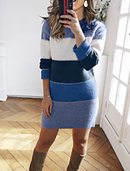 cheap -Women's Sweater Jumper Dress Knee Length Dress Long Sleeve Color Block Patchwork Fall Winter Casual 2021 Blue Wine Green Brown S M L XL XXL 3XL