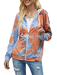 cheap -women's lightweight full-zip hoodie jacket tie dye long sleeve casual zipper sweatshirt outerwear (tie dye orange, large)