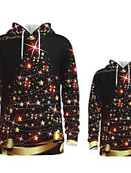 cheap -Family Look Active Santa Claus Graphic optical illusion Print Long Sleeve Regular Hoodie & Sweatshirt Rainbow