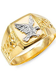 cheap -men's polished 14k yellow gold open nugget band american eagle ring (size 12.5)