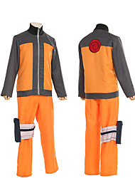 cheap -Inspired by Naruto Naruto Uzumaki Anime Cosplay Costumes Japanese Cosplay Suits Patchwork Long Sleeve Coat Pants For Men's Women's