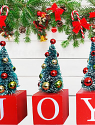 cheap -Christmas Toys Christmas Decorations Santa Claus Reindeer Merry Christmas Waterproof Party Favor For Living Room Bedroom Wooden 3 pcs Adults Kids 12.5*14cm Christmas Party Favors Supplies