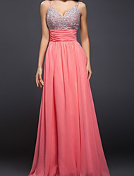 cheap -A-Line Beautiful Back Sexy Engagement Prom Dress V Neck Sleeveless Floor Length Chiffon with Beading 2021