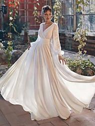 cheap -A-Line Elegant Boho Party Wear Wedding Guest Valentine's Day Dress V Neck Long Sleeve Floor Length Chiffon with Split Lace Insert 2021
