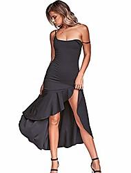 cheap -women's party dress with spaghetti straps, sexy and elegant cocktail bodycon midi dress (black) 07s