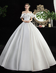 cheap -Ball Gown Wedding Dresses Off Shoulder Floor Length Satin Short Sleeve Simple Elegant with Pleats Ruffles 2020