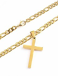 cheap -4mm gold cross necklace for women men teens boys 18k gold plated stainless steel figaro chain hip hop rapper necklace 24inch