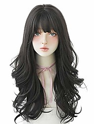 cheap -hair dye wig for women,heat resistant synthetic hair natural long curly with free wig cap (black tea)