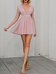 cheap -Women's A-Line Dress Short Mini Dress - 3/4 Length Sleeve Polka Dot Solid Color Rainbow Layered Zipper Lace Spring Summer V Neck Hot Sexy Party 2020 Blushing Pink S M L