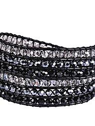 cheap -new! genuine leather bracelet multi colors beads wrap bracelet nice gift! (2 wraps, facet rhinestone)