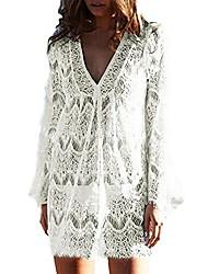 cheap -women cover ups swimwear ladies plus size swimsuits lace crochet tunic bikini beach dresses (xxx large, white)