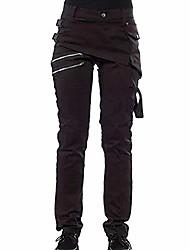 cheap -women's  gothic pants zipper pockets rivet steampunk trousers rock style pants new