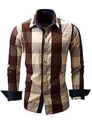 cheap -men's long sleeve slim fit 100% plaid shirts coffee, eur large, usa m