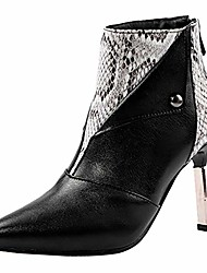 cheap -Leopard Toe Toe Ankle Bootie High For Women Zipper Dress Short Boots Shoes Black
